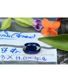 ไพลิน ซีลอน รูปไข่ เนื้อใสสะอาด สีน้ำเงิน น้ำหนัก 3.56 กะรัต