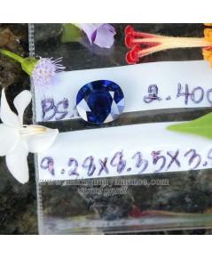ไพลินพม่า ดิบไม่เผา สีน้ำเงินเข้ม สีสวย รูปไข่เจียรไนเหลี่ยม น้ำหนัก  2.40  กะรัต