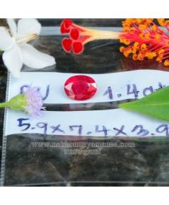ทับทิม พม่า สีแดงอมชมพู สีสวย รูปไข่เจียรไนเหลี่ยม น้ำหนัก  1.40  กะรัต พร้อมใบเซอร์
