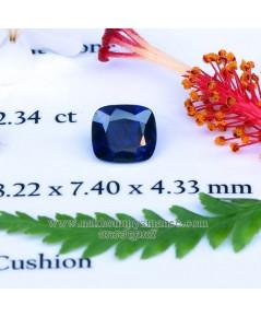 ไพลินพม่า ดิบไม่เผา สีน้ำเงิน รูปทรงคุชชั่น  น้ำหนัก  2.34  กะรัต พร้อมใบเซอร์  GIT