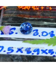 ไพลิน ซีลอน  รูปไข่ เนื้อใสสะอาด สีสวย ไฟดีมาก น้ำหนัก 3.08 กะรัต