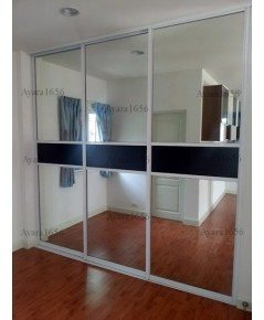 Walk in Closet - I Shape หน้าบาน Acrylic สีขาว+ดำ