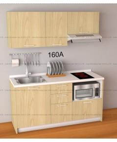 ชุดครัว Budget Kit ตู้ล่างใต้ Sink โครงซีเมนต์บอร์ด หน้าบาน Melamine - 160A ขนาด 1.60 เมตร
