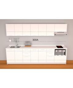 ชุดครัว Budget Kit ตู้ล่างใต้ Sink โครงซีเมนต์บอร์ด หน้าบาน Melamine - 3.00A ขนาด 3.00 เมตร