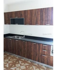ชุดครัว Built-in ตู้ล่าง โครงซีเมนต์บอร์ด หน้าบาน Melamine สี Loft Golden Oak