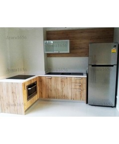 ชุดครัว Built-in ตู้ล่าง โครงซีเมนต์บอร์ด หน้าบาน Melamine สี Loft Graceful Oak