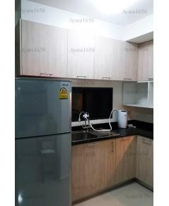 ชุดครัว Built-in โครงซีเมนต์บอร์ด หน้าบาน Laminate สี Alabaster Oak