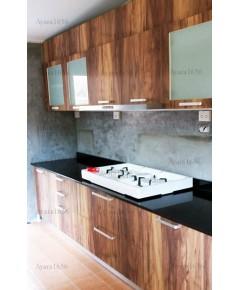 ชุดครัว Built-in ตู้ล่าง โครงซีเมนต์บอร์ด หน้าบาน Melamine สี Couture Wood ลายไม้แนวตั้ง