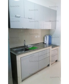 ชุดครัว Built-in โครงซีเมนต์บอร์ด หน้าบาน Laminate สี Folktone