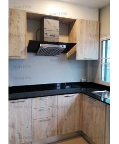 ชุดครัว Built-in ตู้ล่าง โครงซีเมนต์บอร์ด หน้าบาน Melamine สี Tundra Forest