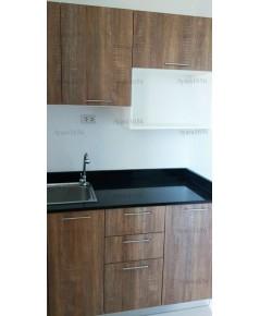 ชุดครัว Built-in ตู้ล่าง โครงซีเมนต์บอร์ด หน้าบาน Melamine สี Loft Bronze Oak