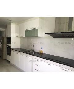 ชุดครัว Built-in โครงซีเมนต์บอร์ด หน้าบาน Hi Gloss สีขาว