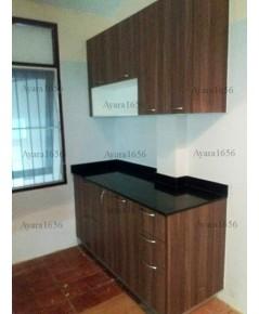 ชุดครัว Built-in ตู้ล่าง โครงซีเมนต์บอร์ด หน้าบาน Melamine สี Milano Wood