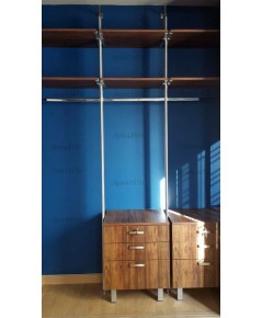 Walk in Closet - L Shape หน้าบานเมลามีน สี Tundra Forest/Loft Golden Oak