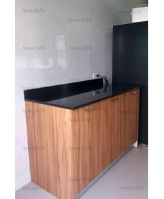 ชุดครัว Built-in ตู้ล่าง โครงซีเมนต์บอร์ด หน้าบาน Laminate สี Classic Walnut