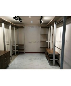 Walk in Closet - L Shape Melamine สี Loft Golden Oak