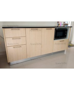 ชุดครัว Built-in ตู้ล่าง โครงปาติเกิล หน้าบาน Melamine สีเมเปิ้ล