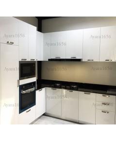 ชุดครัว Built-in ตู้ล่าง + ตู้สูง โครงซีเมนต์บอร์ด หน้าบาน Hi Gloss สีขาว