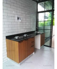 ชุดครัว Built-in ตู้ล่าง โครงซีเมนต์บอร์ด หน้าบาน Laminate สี Teak Allover ลายไม้