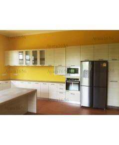 ชุดครัว Built-in ตู้ล่าง โครงซีเมนต์บอร์ด หน้าบาน Laminate สี Silverbrush Wood-Cross ลายไม้แนวนอน