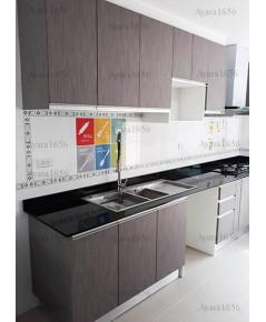 ชุดครัว Built-in ตู้ล่าง โครงซีเมนต์บอร์ด หน้าบาน Laminate สี Sarum Strand - ม.สราญสิริ
