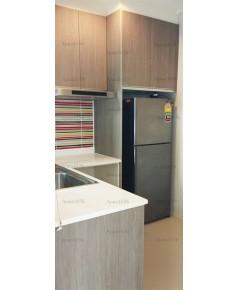 ชุดครัว Built-in ตู้ล่าง โครงซีเมนต์บอร์ด หน้าบาน Laminate สี Weathered Ash - ม.The Centro