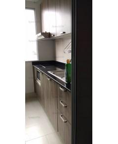 ชุดครัว Built-in ตู้ล่าง โครงซีเมนต์บอร์ด หน้าบาน Melamine สี Walnut