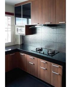 ชุดครัว Built-in ตู้ล่าง โครงซีเมนต์บอร์ด หน้าบาน Laminate สี Natural Teak ลายไม้