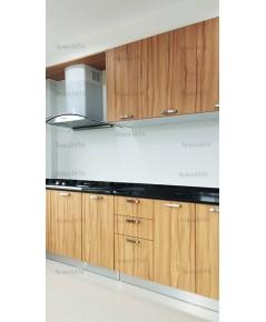 ชุดครัว Built-in ตู้ล่าง โครงซีเมนต์บอร์ด หน้าบาน Laminate สี Classic Walnut ลายไม้