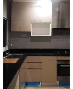 ชุดครัว Built-in ตู้ล่าง โครงซีเมนต์บอร์ด หน้าบาน Laminate สี Oyster Grey - ม.CENTRO