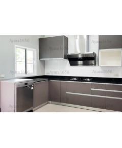ชุดครัว Built-in ตู้ล่าง โครงซีเมนต์บอร์ด หน้าบาน Laminate สี Citadel - ม.ชลดา