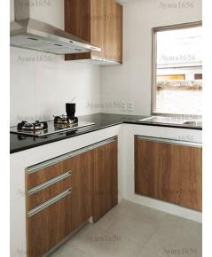 ชุดครัว Built-in ตู้ล่าง + วงกบ โครงซีเมนต์บอร์ด หน้าบาน Laminate สี Millennium Oak