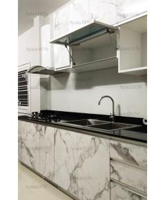 ชุดครัว Built-in ตู้ล่าง โครงซีเมนต์บอร์ด หน้าบาน Laminate สี Calacatta Marble