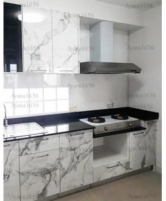 ชุดครัว Built-in ตู้ล่าง โครงซีเมนต์บอร์ด หน้าบาน Laminate สี Calacatta Marble - ม.ศุภาลัย โมด้า