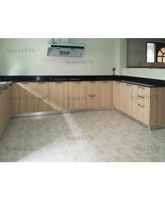 ชุดครัว Built-in ตู้ล่าง โครงซีเมนต์บอร์ด หน้าบาน Laminate สี Beige Oak ลายไม้