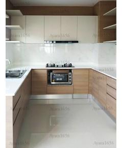 ชุดครัว Built-in ตู้ล่าง โครงซีเมนต์บอร์ด หน้าบาน Laminate สี Sandy Sakura + Neutral Weft ลายไม้