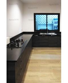 ชุดครัว Built-in ตู้ล่าง โครงซีเมนต์บอร์ด หน้าบาน Laminate สี Ebony Oak-Cross ลายไม้แนวนอน