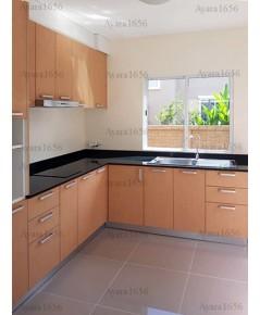 ชุดครัว Built-in ตู้ล่าง โครงซีเมนต์บอร์ด หน้าบาน Laminate สี Amber Maple - ม.ภัสสร ไพรด์