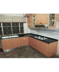 ชุดครัว Built-in ตู้ล่าง โครงซีเมนต์บอร์ด หน้าบาน Melamine สี Beech