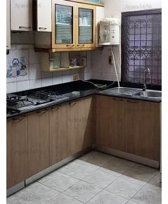 ชุดครัว Built-in ตู้ล่าง โครงซีเมนต์บอร์ด หน้าบาน Laminate สี Rural Oak ลายไม้