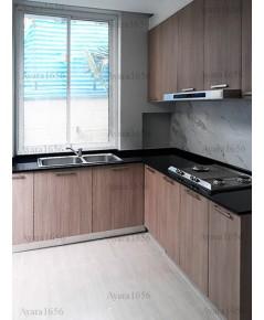 ชุดครัว Built-in ตู้ล่าง โครงซีเมนต์บอร์ด หน้าบาน Laminate สี Olive Afromosia ลายไม้
