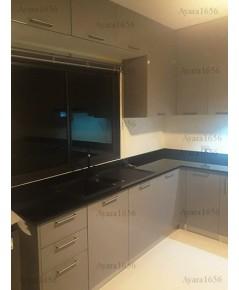 ชุดครัว Built-in ตู้ล่าง โครงซีเมนต์บอร์ด หน้าบาน Hi Gloss สีเทา - ม.ภัสสร