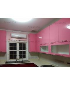 ชุดครัว Built-in ตู้บน โครงพลาสวู๊ด หน้าบาน Hi Gloss สีชมพู