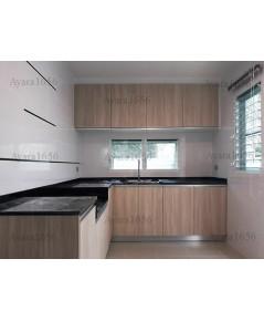 ชุดครัว Built-in ตู้ล่าง โครงซีเมนต์บอร์ด หน้าบาน Laminate สี Bleached Elm - ม.มัณฑนา