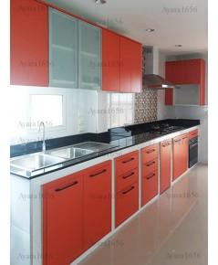 ชุดครัว Built-in โครงตู้ลิ้นชัก + ซับวงกบ ซีเมนต์บอร์ด กันน้ากันปลวก หน้าบาน Laminate สี Ciementine