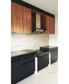 ชุดครัว Built-in ตู้ล่าง โครงซีเมนต์บอร์ด หน้าบาน Melamine สี Black + Lyon