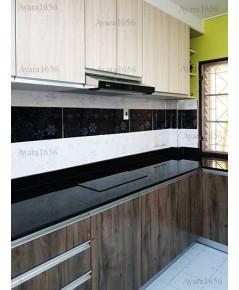 ชุดครัว Built-in ตู้ล่าง โครงซีเมนต์บอร์ด หน้าบาน Melamine สี Woodland Oak + ELM