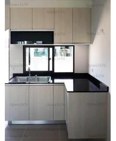 ชุดครัว Built-in ตู้ล่าง โครงซีเมนต์บอร์ด หน้าบาน Melamine สี White Pine ลายไม้ - ม.บ้านกลางเมือง