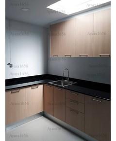 ชุดครัว Built-in ตู้ล่าง โครงซีเมนต์บอร์ด หน้าบาน Melamine สี Oak - ม.พฤกษาวิลล์