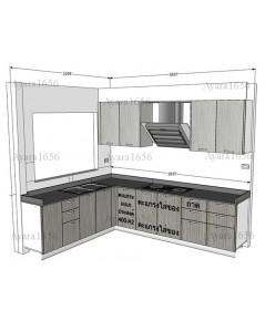 ชุดครัว Built-in ตู้ล่าง โครงซีเมนต์บอร์ด หน้าบาน Laminate สี Sarum Strand+Smoke Strand-ม.Casa Ville